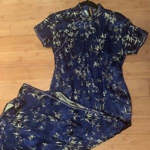 Dresses & Skirts - Traditional blue and gold Chinese Dress ( Qipao)